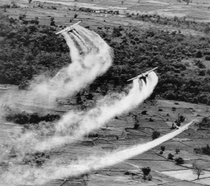 U.S. Air Force UC-123 Providers spray the defoliant chemical Agent Orange over dense vegetation in South Vietnam in 1966. The chemical, which Air Force spokesmen said at the time was harmless to humans and animals, could remove 50 percent of ground cover within a few weeks of application, making it difficult for guerrillas to hide. (AP Photo)