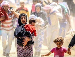 refugees walking
