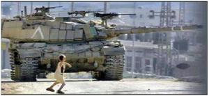 palestne, boy threwing stone to israeli tank